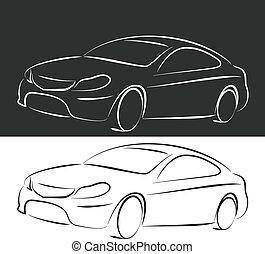 silhouette, automobile