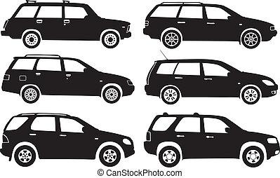 silhouette, auto's, vector