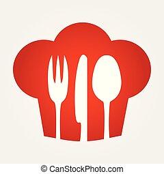 silhouette, available., arrière-plan., vecteur, intérieur, icon., chef cuistot, chapeau rouge, coutellerie