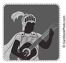 silhouette avatar boy guitar