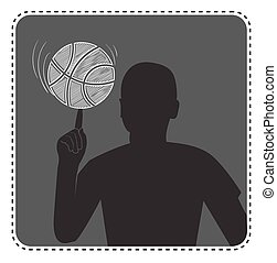 silhouette avatar boy with a basketball