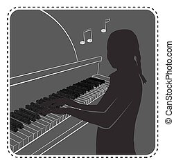 silhouette avatar girl piano