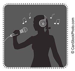 silhouette avatar girl singer