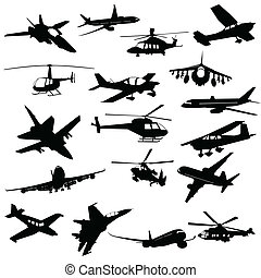 Silhouette aviation - Silhouette helicopter fighter plane