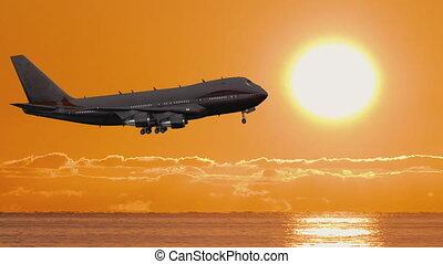 silhouette, avion, fermé, coucher soleil, prendre