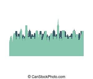 silhouette, bâtiments, icône, scène, cityscape