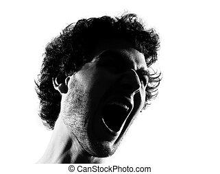 silhouette, böser , junger, porträt, schreien, mann