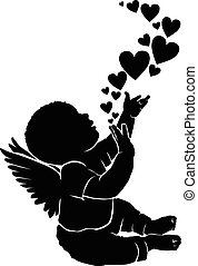 Silhouette baby angel with heart - Silhouette baby angel...