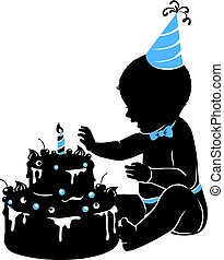 Silhouette baby boy with birthday cake with candle
