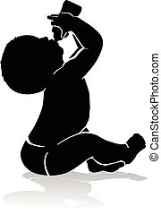 Silhouette baby drinking from baby bottle - Black and white...