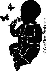 Silhouette baby flowers and butterflies