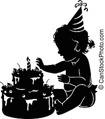 Silhouette baby girl with birthday cake with candle