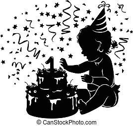 Silhouette baby girl with birthday cake with candle figure 1