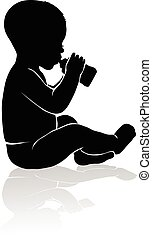 Silhouette baby sitting drinking from baby bottle - Black...