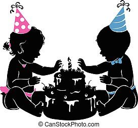 Silhouette baby twins with birthday cake with candle