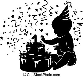 Silhouette baby with birthday cake with candle figure