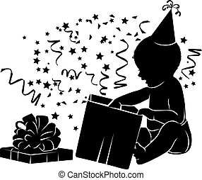 Silhouette baby with gift box Birthday 1 year