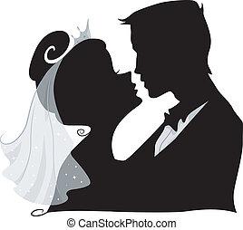 silhouette, bacio, matrimonio