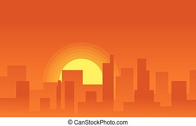 Silhouette background city on the sunset
