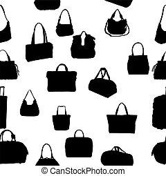 silhouette bag seamless pattern. vector illustration. EPS...