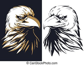 Silhouette bald eagle head isolated vector logo mascot badge on black and white style