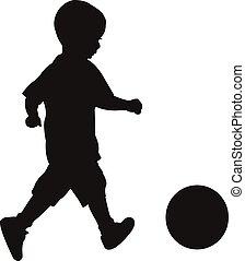 silhouette, balle, jouer