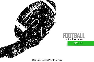 silhouette, balle, tient,  rugby, main