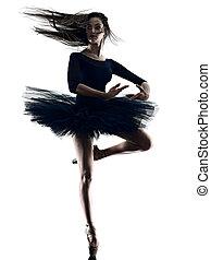 silhouette, ballerina, hintergrund, freigestellt, ballett, weißes, tanzen, junge frau, tänzer