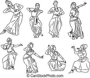 silhouette, ballerini, indiano