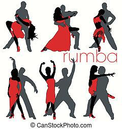 silhouette, ballerini, set, rumba
