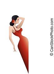 silhouette, ballerino, flamenco, spagna, disegnato