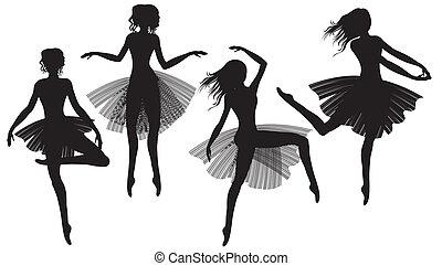 silhouette, ballet-dancers