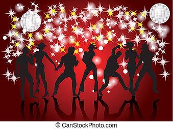 silhouette, ballo, disco., persone