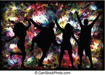 silhouette, ballo, persone