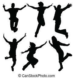 silhouette, ballo rottura, -, ragazza, ballo