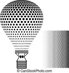 silhouette, balloon, aria, caldo, vettore, nero