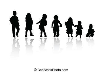 silhouette, bambini, -