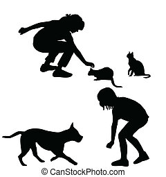 silhouette, bambini, animali domestici, gioco