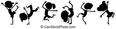 silhouette, bambini, ballo