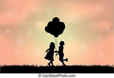 silhouette, bambini, balloon.