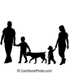 silhouette, bambini, due, cane famiglia