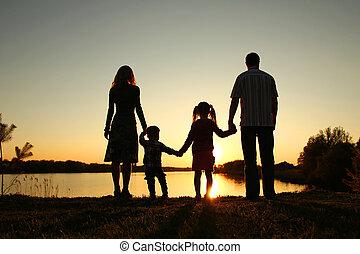 silhouette, bambini, famiglia, felice