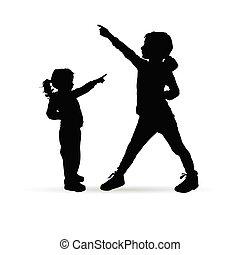 silhouette, bambini, felice