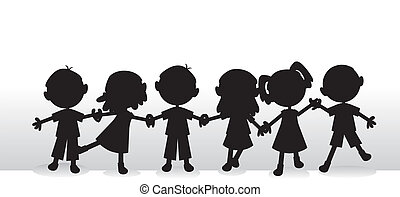 silhouette, bambini, fondo