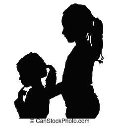 silhouette, bambini, illustrazione