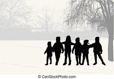 silhouette, bambini, natura