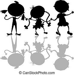 silhouette, bambini, nero