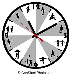 silhouette, bambini, orologio, parete