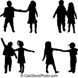 silhouette, bambini
