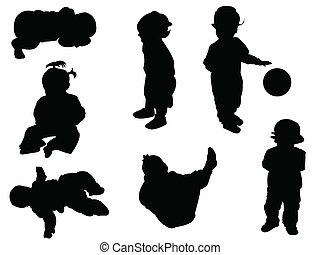 silhouette, bambino, -
